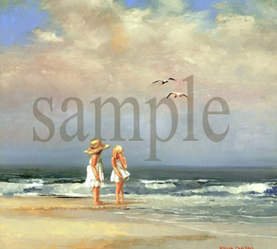 Two Girls on a Beach by William Carl Bell
